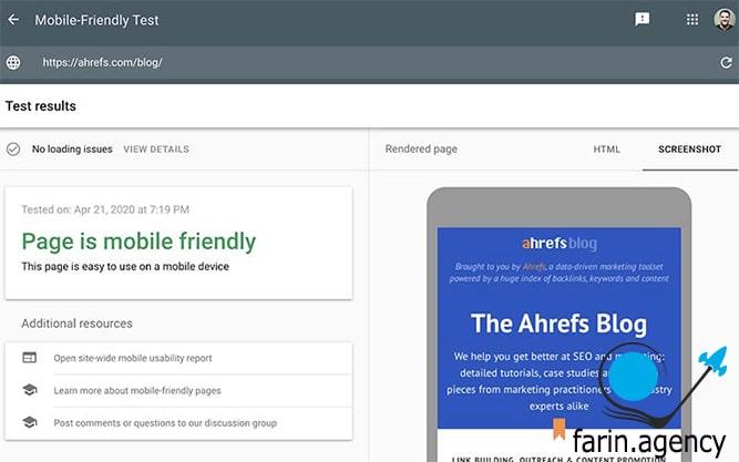 ابزارهای بررسی سئوGoogle's Mobile-Friendly Test
