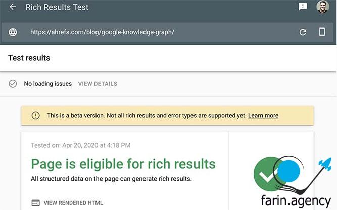 ابزارهای بررسی سئو Google's Rich Results Test