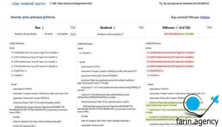 ابزارهای بررسی سئوView Rendered Source